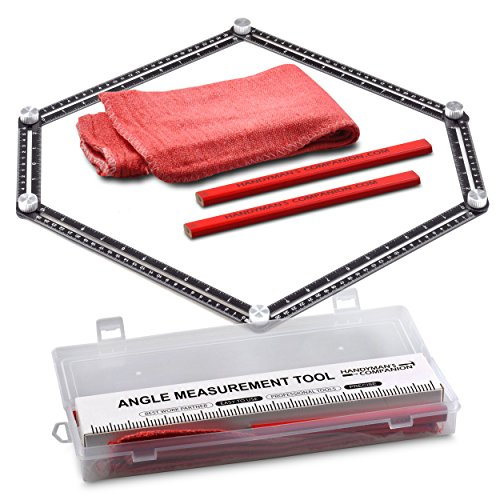 Handyman's Companion- Angle Ruler-Angle Measurement Tool Kit-Includes 6 rulers, 2 Pencils, 2 Shop Rags in a Protective Plastic Case. Multi-Angle Measuring Tool - for Larger Projects with 3 to 6 Sides