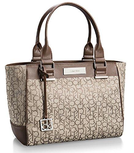 Calvin Klein Logo Jacquard City Shopper Tote Bag Handbag Satchel (NaturalTan)