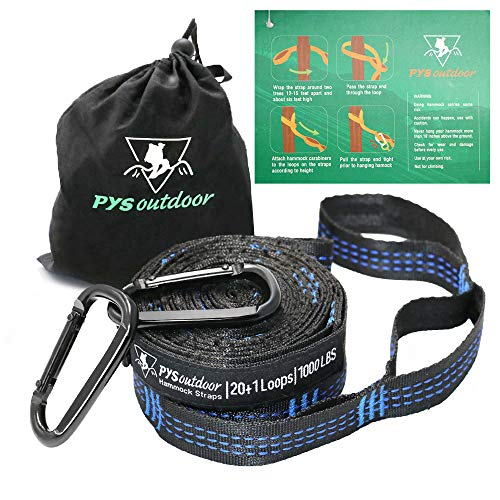 pys XL Hammock Straps, Hammock Tree Straps with 2 Premium Carabiners, 40 Loops Combined 24ft Long, 2000 LBS Heavy Duty, Lightweight, Easy Setup, Fits All Hammocks (12 ft with 2 Carabiners) by pys