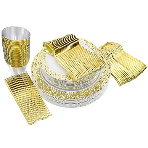 25 Guest Settings (150 piece) of Gold Lace Plates, Silverware, Glasses, Premium Disposable Plastic Dinnerware: 25 Dinner & 25 Salad Plates, 25 Glasses (9 oz), 25 Forks, 25 Knives, 25 Spoons