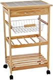 Organize It All Natural Pinewood Multi-Purpose Mobile Kitchen Cart