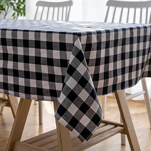Aquazolax Farmhouse Table Protector Gingham Checker Decorative Picnic/Dinning Rectangle Tablecloth, 54 by 72 inch, Navy ()