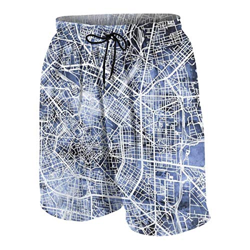 Milan Italy City Map Swim Trunks Beach Board Shorts Cool Novelty Bathing Suits for Teen Boys White]()