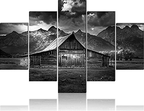 Painting on Canvas Grand Teton National Park Mormon Row Prints on Paintings USA Landscape Pictures,Wall Art 5 PCS Cabin Artwork Home Decor for Living Room Giclee Framed Ready to Hang(60