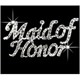 Crystal Maid of Honor Pin- Rhinestone Maid of Honor Brooch with Silver Setting