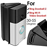 Adjustable (30 to 55 Degree) Angle Mount for Ring Video Doorbell 2/Ring Wi-Fi Enabled Video Doorbell, QIBOX Angle Adjustment Adapter Corner Kit Mounting Plate Bracket Wedge Kit