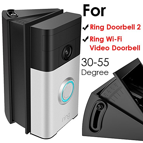 Adjustable (30 to 55 Degree) Angle Mount for Ring Video Doorbell 2/Ring Wi-Fi Enabled Video Doorbell, QIBOX Angle Adjustment Adapter Corner Kit Mounting Plate Bracket Wedge (2 Hole Angle Plates)