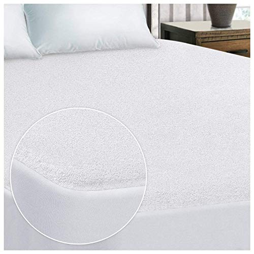 Waletone Linen Mattress Protector Fitted Style Olympic Queen Size (+15 Inch Drop) White Solid 100% Anti-Allergy, Anti-Bacterial, Dust Mites Resistance, Terry Cotton