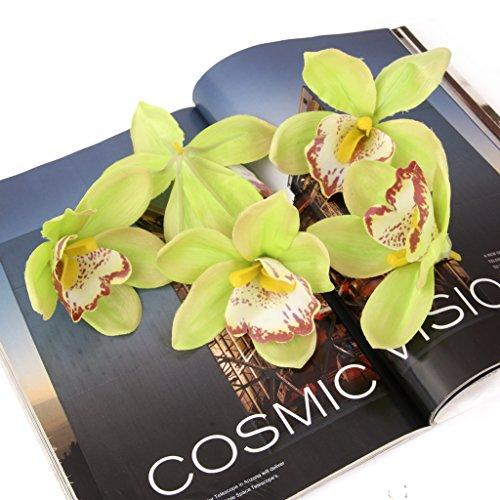 (20pcs 11cm Artificial Silk Orchid Dendrobium Flower Heads Decor -Green)