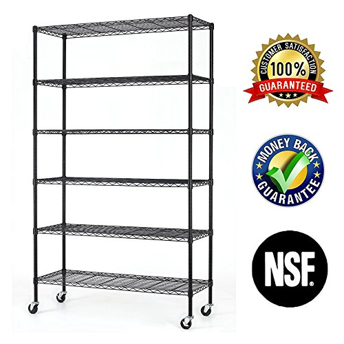 (6 Tier Wire Shelving Rack,Steel Shelf 48