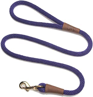 product image for Mendota Pet Snap Leash - British-Style Braided Dog Lead, Made in The USA - Purple, 1/2 in x 4 ft - for Large Breeds