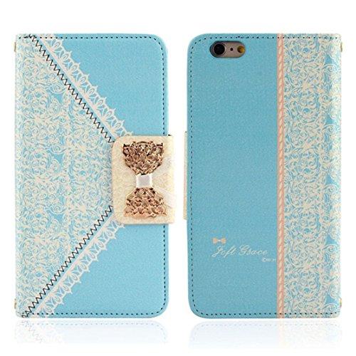 Towallmark(TM)Fashion Fresh Cute Wallet Leather Case Cover Skin for iPhone 6 Plus (Light Blue)
