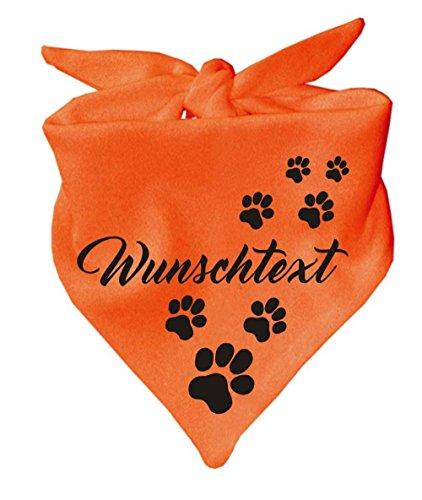 Hunde Dreiecks Halstuch (Fb: orange) mit Ihrem Wunschtext
