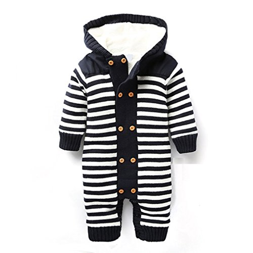 IDGIRL Winter Soft Baby Hooded knit romper outfit JY0138-Black-60cm (Baby Boys Movie)