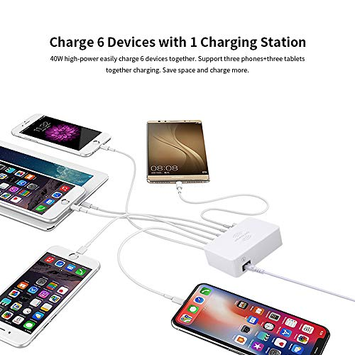 USB c Charger with Wireless Charger,Bencisy 6port USB Charging Station,Type c to Lighting Fast Charger Quick Charge 3.0 Multi USB Charger, Compatible with iOS & Android Multiple Devices