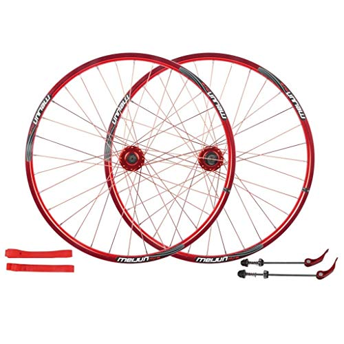 (ZNND Mountain Bike 26, Bicycle Wheelset Aluminum Alloy Double Wall Rim Disc V-Brake Sealed Bearings Compatible 8/9/10 Speed (Color : Red, Size : 26inch))