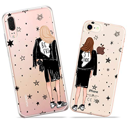 Wonder Wild Girls Friends Couple Case iPhone Xs Max X Xr 10 8 Plus 7 6s 6 SE 5s 5 TPU Clear Gift Apple Phone Cover Print Protective Double Pack Silicone Leather Fashion Trend Stars Sisters Sorority