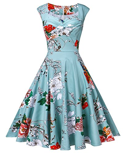 Vintage Retro Mint - VOGVOG Women's 1950s Retro Vintage Cap Sleeve Party Swing Dress, Floral Mint Green, Small