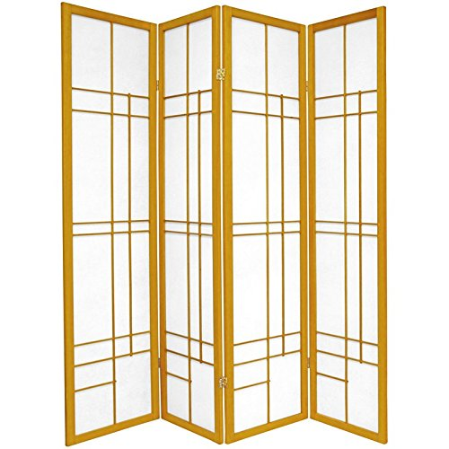 Oriental Furniture 6 ft. Tall Eudes Shoji Screen - Honey - 4 Panels
