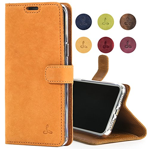 Snakehive Apple iPhone Xs/iPhone X Case, Luxury Genuine Leather Wallet with Viewing Stand and Card Slots, Flip Cover Gift Boxed and Handmade in Europe for Apple iPhone Xs/X - Burnt Orange