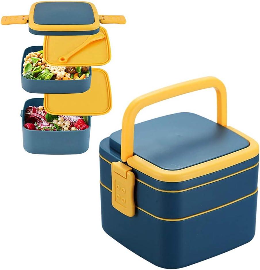 Lunch Bento Box,Bento Box Hermetico,Caja Bento Infantil,Caja Bento a Prueba de Fugas,Fiambrera con Cubiertos,Caja de Bento con Compartimentos,Fiambrera