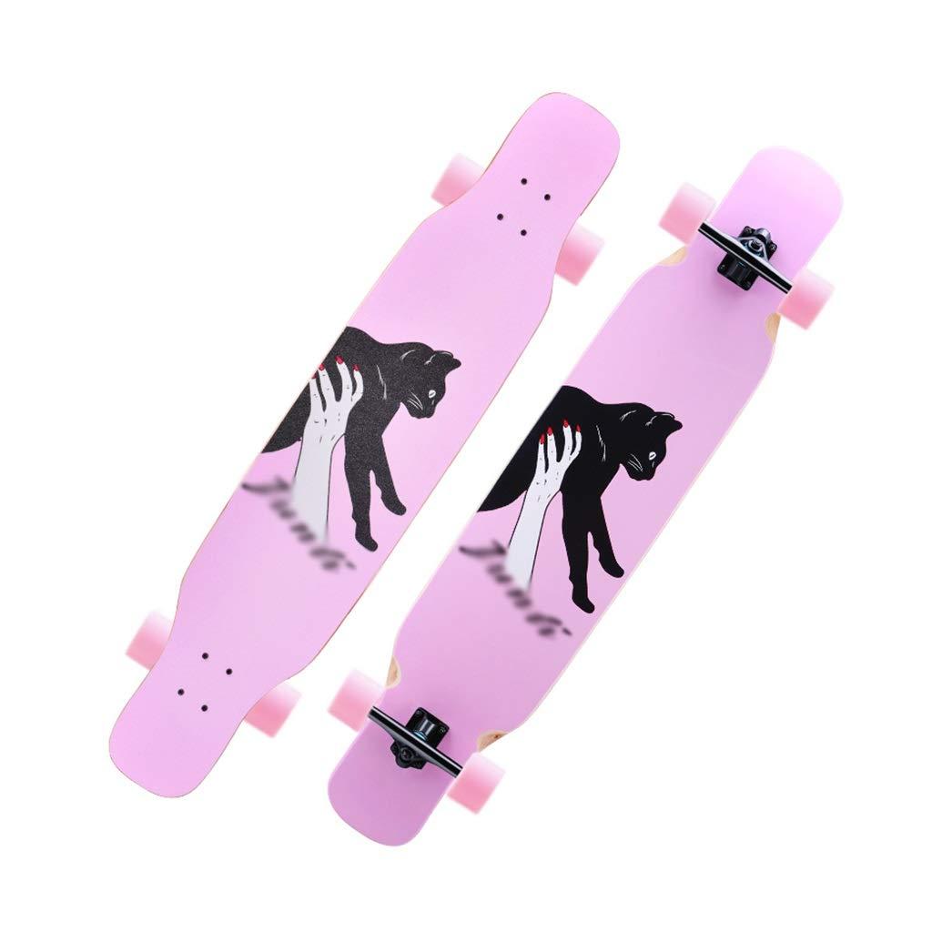 HXGL-スケートボード ロングボードスケートボード4ラウンドプロフェッショナルボードブラシストリート二重巻きメープルウッドロングボード初心者アダルト ピンク A
