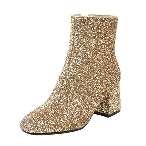 Coolulu Women's Mid Block Heel Glitter Ankle Boots Zipper Party Short Booties Shoes Size 7.5 B(M) US,Gold ()