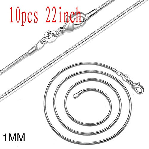 (Wholesale Fashion Jewelry Gift Women's 925 Sterling Silver Plate 1mm Snake Chains Necklace (10pcs 22inch))