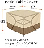 Classic Accessories Veranda Water-Resistant 40 Inch Square Patio Table Cover