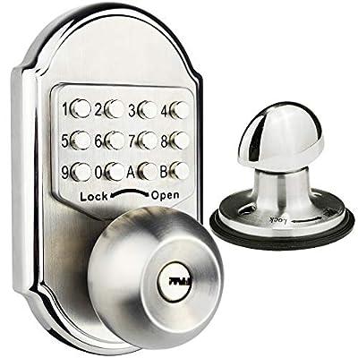 Elemake Keyless Deadbolt Keyless Entry Door Lock Keypad Mechanical Stainless Steel Digital Pass Code Security Door Knob with Keys
