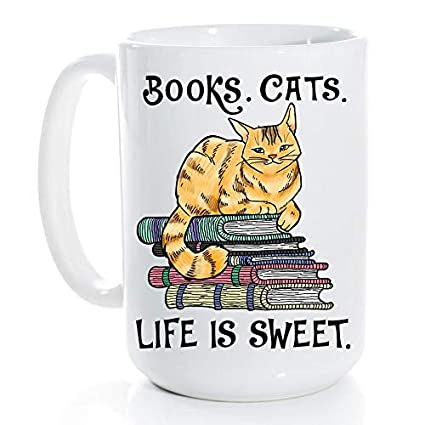 c68a053b Reader Gifts Book and Cat Life Is Sweet- Book Lovers, Bookworm Reading,  Perfect