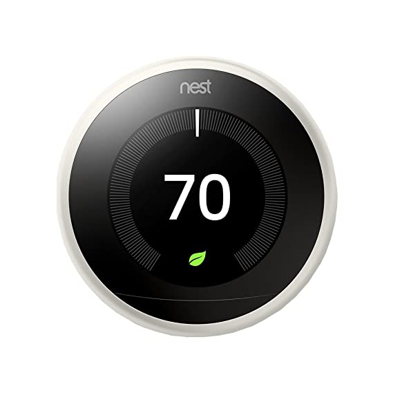 Nest T3017US Learning Thermostat (3rd Gen, White) with Google Mini Home Smart Speaker with Google Assistant, Chalk - - Amazon.com