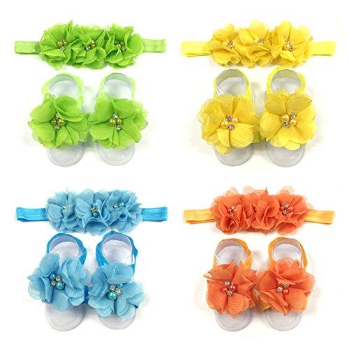 Feet Headband Bare - Wrapables Shabby Chic Flower Headband & Barefoot Sandals (4 Set), Spring
