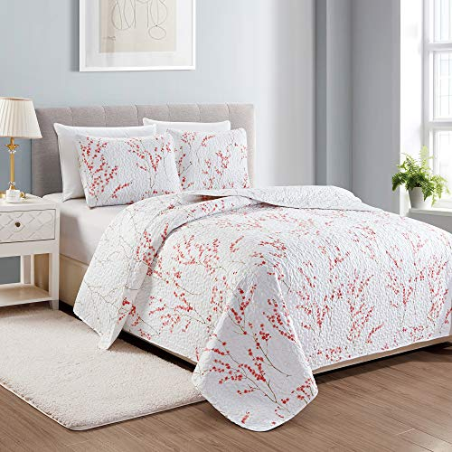 Great Bay Home Sakura Collection 3 Piece Quilt Set with Shams. Reversible Floral Bedspread Coverlet. Machine Washable. (Full/Queen, Cherry Blossoms)