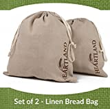 bread bags round - Heartland Linen Cloth Bread Storage Bags, Set of 2, 100% Flax, Large 13 x 15, Reusable Food Storage, Homemade Bread, Housewarming, Wedding Gift, Party