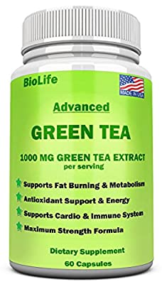 Green Tea Extract Supplement with EGCG for Weight Loss- Accelerate Metabolism & Promote a Healthy Heart- Natural Caffeine Energy Pills - Antioxidant & Immune System-1000 MG Capsules