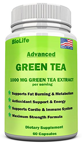 Green Tea Extract Supplement with EGCG for Weight Loss- Accelerate Metabolism & Promote a Healthy Heart- Natural Caffeine Energy Pills – Antioxidant & Immune System-1000 MG Capsules