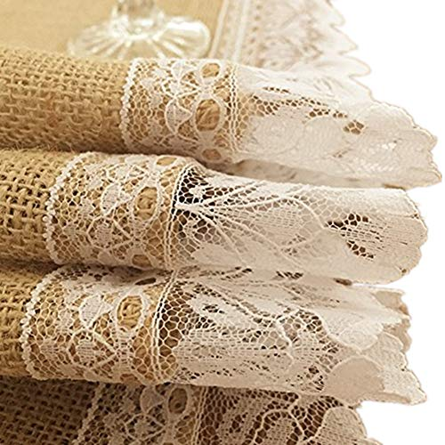 OZXCHIXU TM Burlap Table Runners with Scalloped Beige Lace Trim,Pefect for Farmhouse Kitchen Decor, Baby Shower Decor, Rustic Barn Wedding Decorations(14