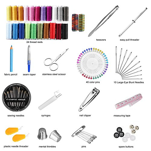Sewing kit - over 140 Premium sewing accessories, Mini Travel sewing kit for Beginners, Most Useful & Practical SEWING ACCESSORIES for Home, Office, Travel, Beginners & Sewing Emergency