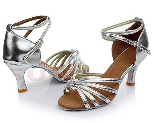 Minetom Femme Pour Dame Talon Bas Chaussures de Danse Paillettes Bout Rond Latin Lanière de Cheville Boucle Argent GMFQDgK