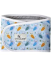 Anna & Eve - Baby Swaddle Strap, Adjustable Arms Only Wrap for Safe Sleeping - Owls Blue/Green, Large