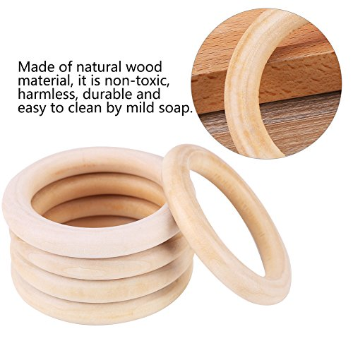 10Pcs Natural Wood Teething Rings Baby Infant Teether Wooden Bracelet Necklace DIY Craft