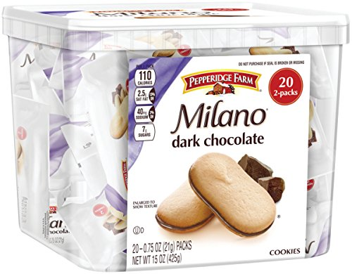 (Pepperidge Farm, Milano, Cookies, Dark Chocolate, 15 oz., Multi-pack, Tub, 20-count)