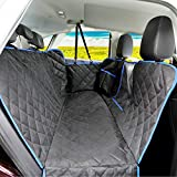 SUPSOO Dog Car Seat Cover Waterproof Durable Anti-Scratch Nonslip Pet Protection Dog Hammock with Mesh Window & Side Flaps, 54'' x 58'', Black/Blue