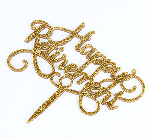 Happy Retirement Acrylic Cake Topper Party Sign Gold by waway (Image #2)