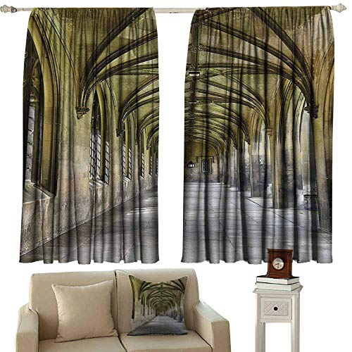 Doorway Curtain Apartment Decor Collection Paved Stone Walkway with Gothic Arches Receding Into Distance Arched Windows Portals Great for Living Rooms & Bedrooms W55x63L Inches Charcoal