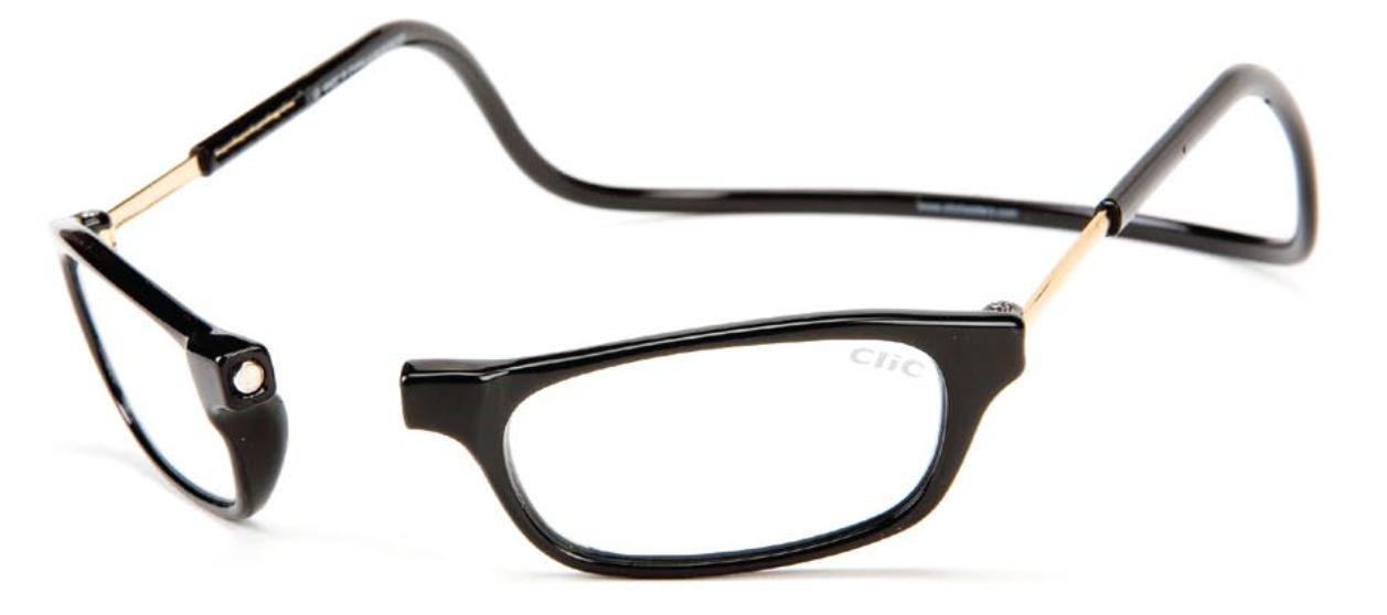 CliC Original Adjustable Front Magnetic Connect Reading Glasses Long Black +1.50