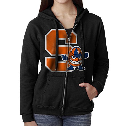 KOBT Women's Syracuse S Mascot Logo University Full Zip Sweatshirt Jackets Black Size S