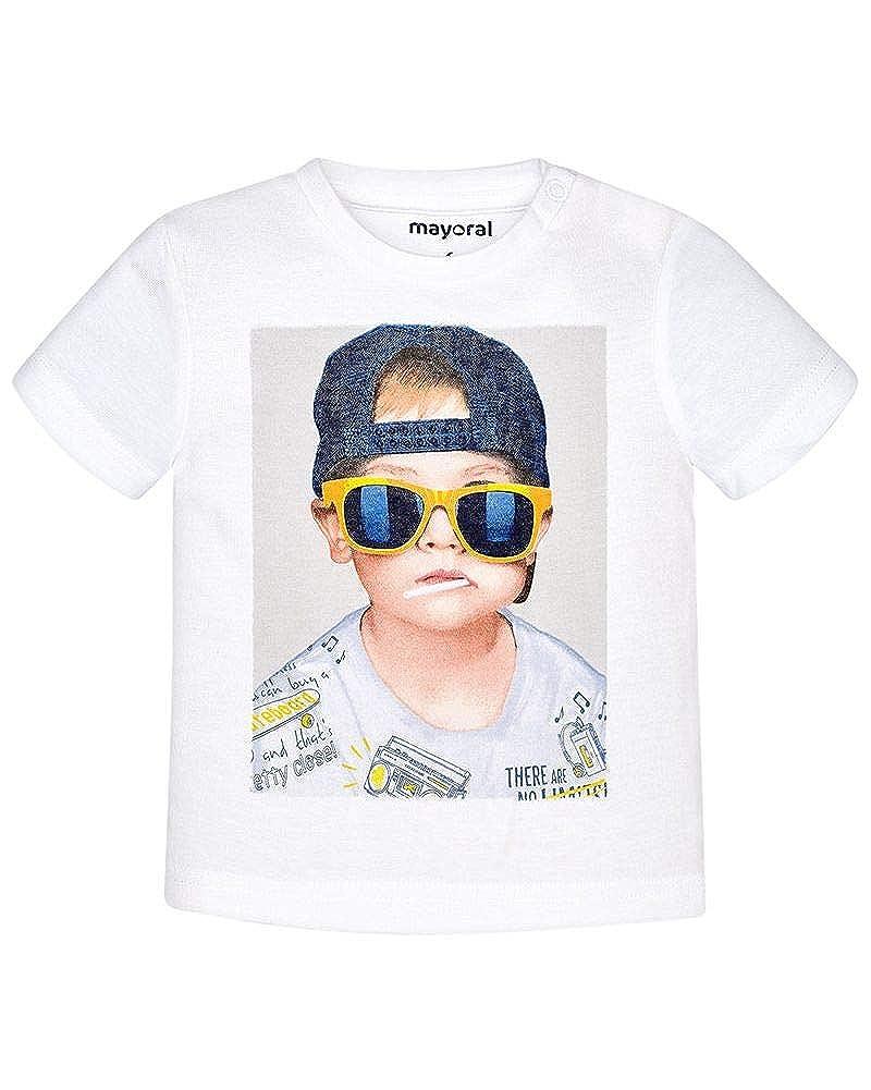 Mayoral Baby T-Shirt Boy blanco weiß Shirt reine Baumwolle kurzarm Fotodruck
