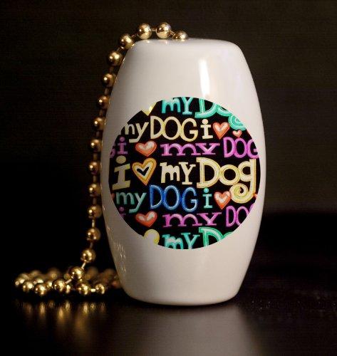 I Love My Dog Porcelain Fan / Light